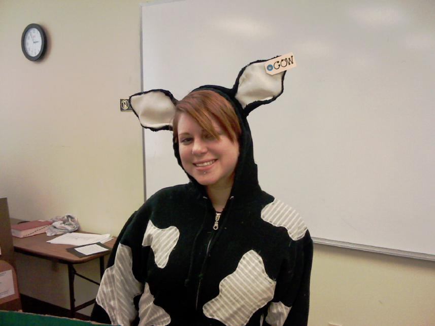Syd in Cow Outfit